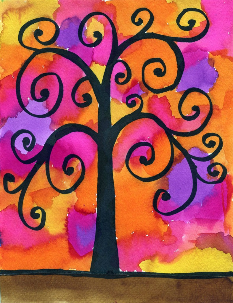 klimt tree of life drawing art projects for kids